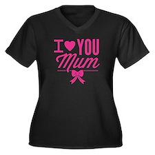 I Love You Mum Women's Plus Size V-Neck Dark T-Shi
