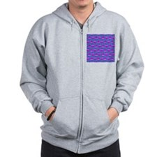 Purple Psychedelic Owl Pattern Zip Hoodie