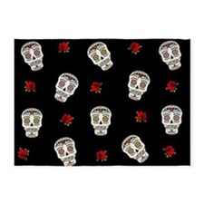 Sugar Skulls and Roses 5'x7'Area Rug
