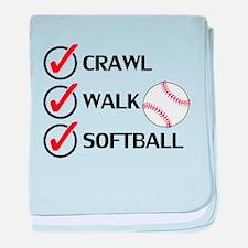 Crawl Walk Softball baby blanket