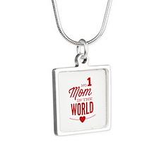 No 1 Mom In The World Silver Square Necklace