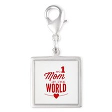 No 1 Mom In The World Silver Square Charm