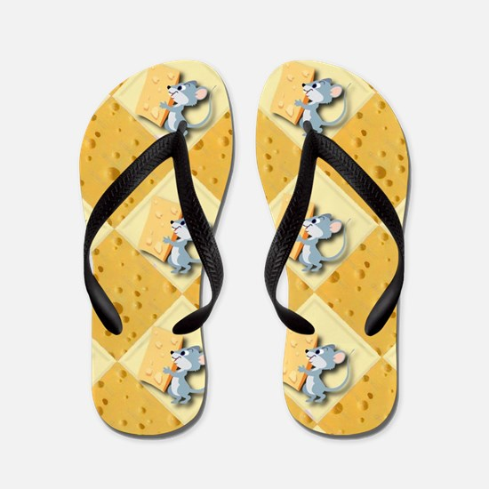 Mouse and Cheese Background Flip Flops