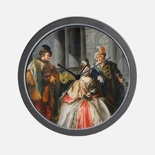Three Figures Dressed for a Masquerade Wall Clock