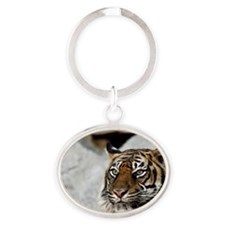 Tiger029 Oval Keychain