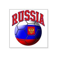 "Flag of Russia Soccer Ball Square Sticker 3"" x 3"""