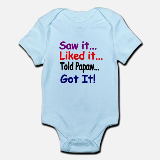 Saw it, liked it, told Papaw, got it! Body Suit