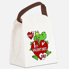 Crocodile 1st Valentines Day Canvas Lunch Bag