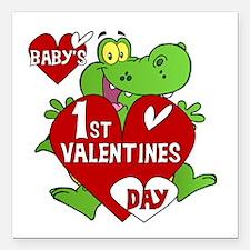 "Crocodile 1st Valentines Day Square Car Magnet 3"""