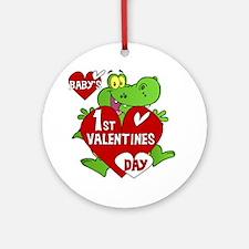 Crocodile 1St Valentines Day Ornament (Round)