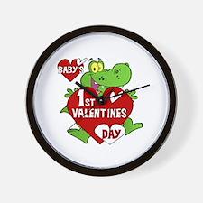 Crocodile 1st Valentines Day Wall Clock
