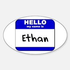 hello my name is ethan Oval Decal