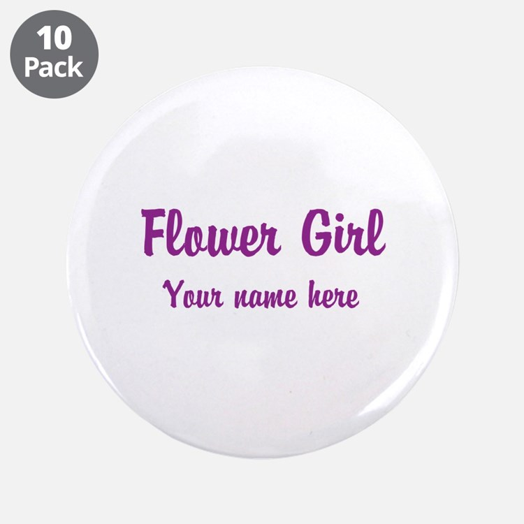 """Flower Girl By Name 3.5"""" Button (10 pack)"""