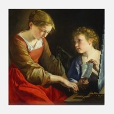 Saint Cecilia and an Angel Tile Coaster