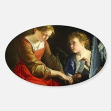 Saint Cecilia and an Angel Sticker (Oval)