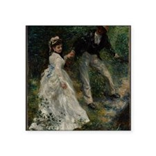 "Pierre-Auguste Renoir - La  Square Sticker 3"" x 3"""