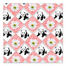 "Pandas on Checker Board Square Car Magnet 3"" x 3"""