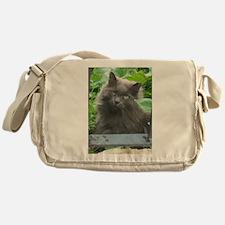 Long Haired Russian Blue Cat Messenger Bag