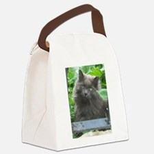 Long Haired Russian Blue Cat Canvas Lunch Bag