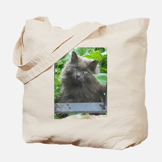 Long Haired Russian Blue Cat Tote Bag