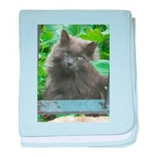 Long Haired Russian Blue Cat baby blanket