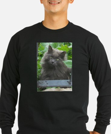 Long Haired Russian Blue Cat Long Sleeve T-Shirt