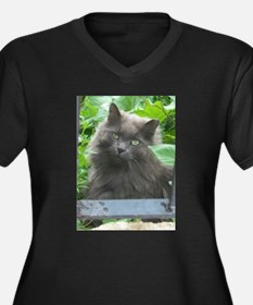 Long Haired Russian Blue Cat Plus Size T-Shirt