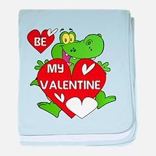 Crocodile Be My Valentine baby blanket