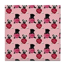 Sweet Black and Fawn Valentine Pugs Tile Coaster