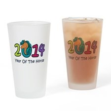 Cute Horse 2014 Year Drinking Glass