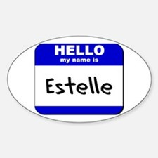 hello my name is estelle Oval Decal