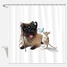 Cairn Terrier with Rat Shower Curtain