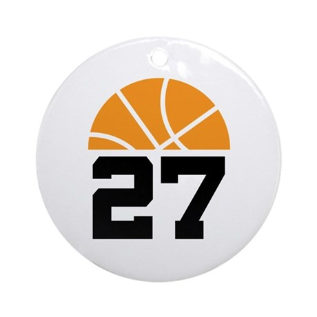 Basketball Number 27 Player Gift Ornament (Round)