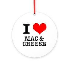 I Heart (Love) Mac & Cheese Ornament (Round)