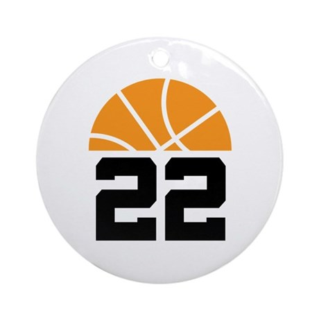 Basketball Number 22 Player Gift Ornament (Round)