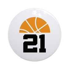 Basketball Number 21 Player Gift Ornament (Round)