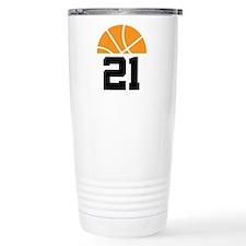 Basketball Number 21 Player Gift Travel Mug