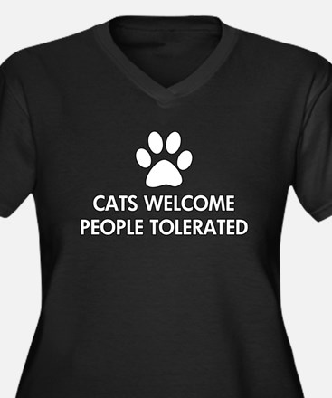 Cats Welcome People Tolerated Women's Plus Size V-