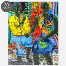 After the work, Afro-American couple enjoyi Puzzle