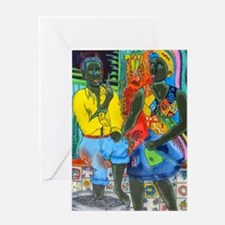 After the work, Afro-American couple Greeting Card