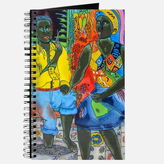After the work, Afro-American couple enjoy Journal