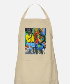 After the work, Afro-American couple enjoyin Apron