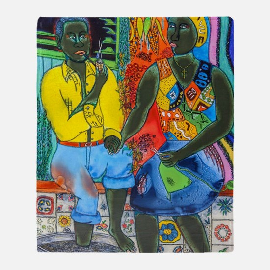 After the work, Afro-American couple Throw Blanket