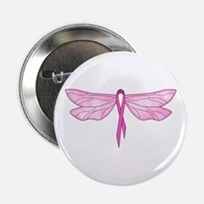 Breast Cancer Dragonfly Button