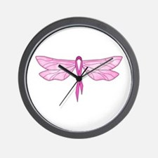 Breast Cancer Dragonfly Wall Clock