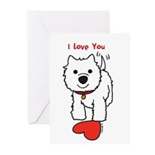 I Love You Westie Greeting Cards