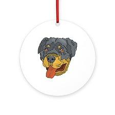 Rottweiler Head Ornament (Round)