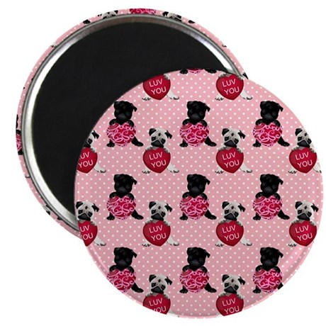 "Sweet Black and Fawn Valentine Pugs 2.25"" Magnet ("