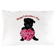 Happy Valentine's Day Black Pug Pillow Case