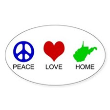 Peace Love Home Oval Bumper Stickers